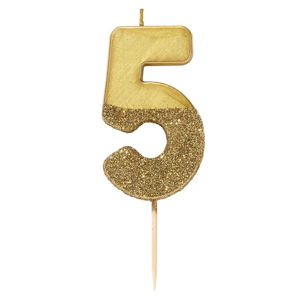 Number 5 Birthday Candle Gold Glamour 75cm 1