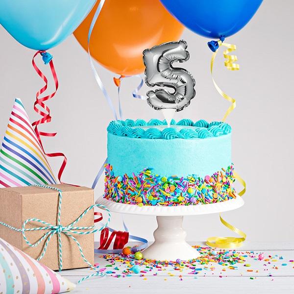 Mini Silver Foil Balloon Number 5 Cake Topper 1