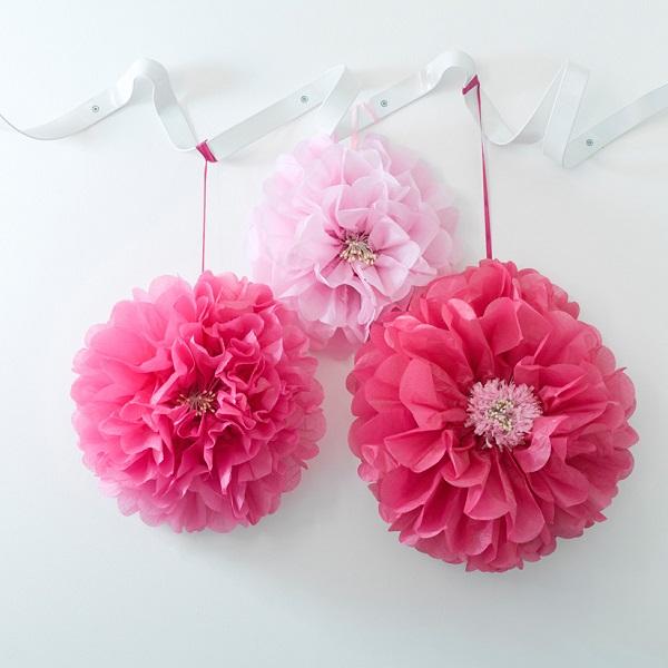 blumen aus pompons, bakeria- blumen pink pom poms, 3 stück- decadent garden pink flower, Design ideen