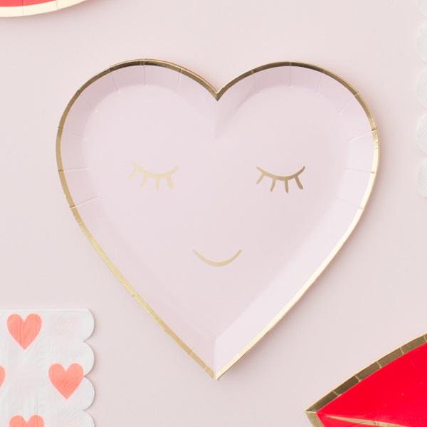 Meri Meri Blushing Heart Paper Plates 8 pcs_1 & Bakeria- Meri Meri Blushing Heart Paper Plates 8 pcs- 45-3137 Heart ...