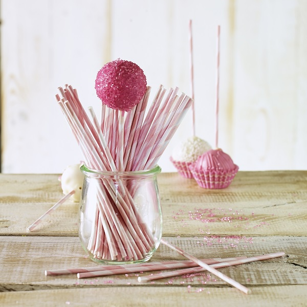 bakeria 15cm cake pop stiele rosa weiss gestreift 48 st ck. Black Bedroom Furniture Sets. Home Design Ideas