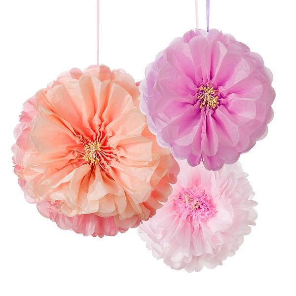 blumen aus pompons, bakeria- blumen blush pom poms, 3 stück- decadent decs blush flower, Design ideen