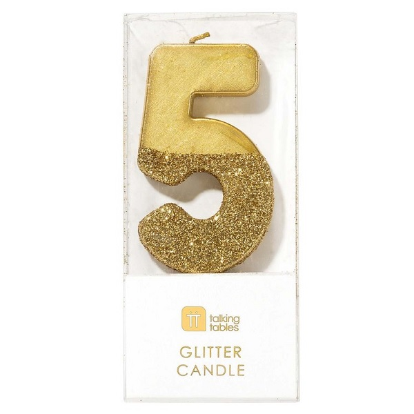 Talking Tables 70th Birthday Number Cake Candles Gold Dipped in Glitter