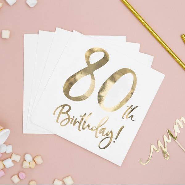 Servietten zum 80 Geburtstag in gold