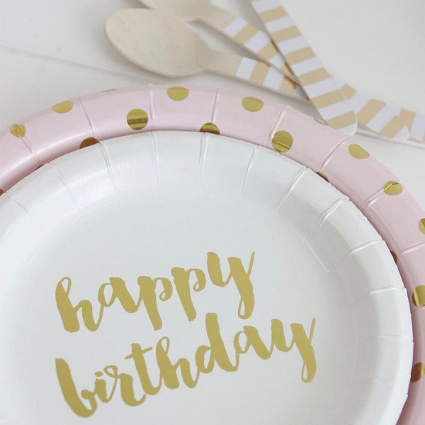 Sambellina Gold Happy Birthday Cake Plates 12 Pcs 1