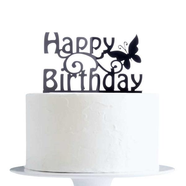 Happy Birthday Butterfly Acrylic Cake Topper Black YO CT013