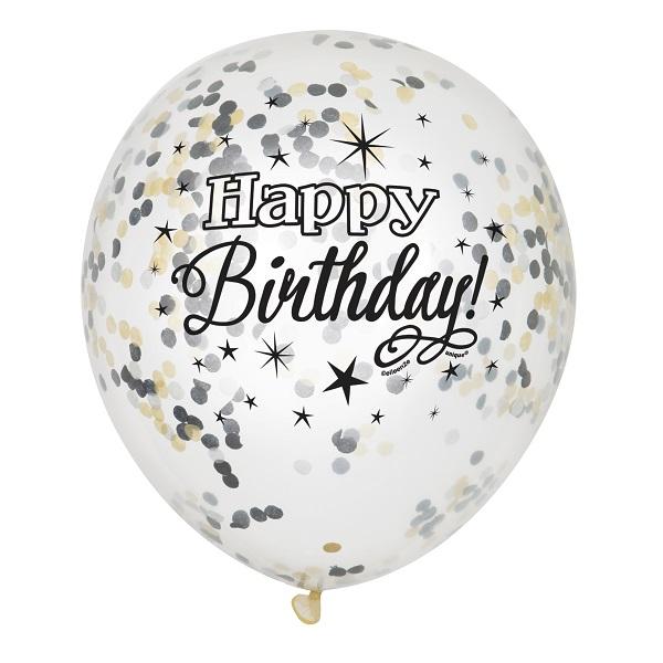 bakeria happy birthday luftballons transparent mit konfetti 6 st ck konfetti ballons happy. Black Bedroom Furniture Sets. Home Design Ideas