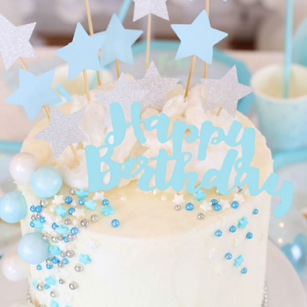 Happy Birthday Torten Topper BABY BLAU 1