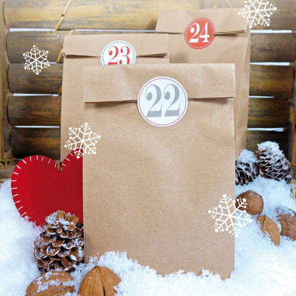 bakeria adventskalender set zum basteln kraftpapier. Black Bedroom Furniture Sets. Home Design Ideas