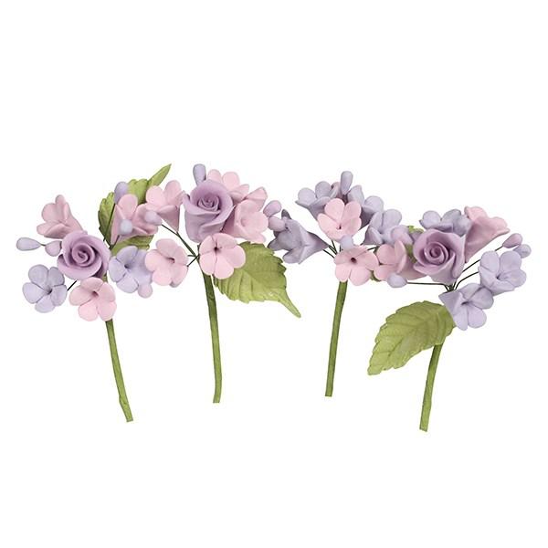 Bakeria- Mini Rosen Blumen Bouquet Lila, 4 Stück- Mini Blumenspray ...