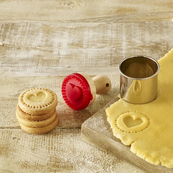RBV Birkmann Stempel Plätzchen Keks Herz 5 cm aus Holz und Silikon