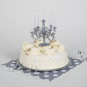Silver Candelabra Cake Topper