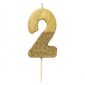 Number 2 Birthday Candle Gold Glamour 75cm