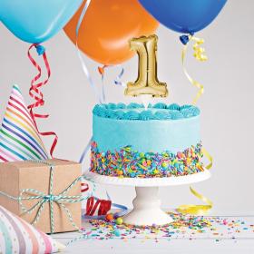 Mini Gold Foil Balloon Number 1 Cake Topper
