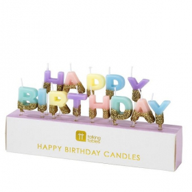 Pastel Glamour Happy Birthday Candles