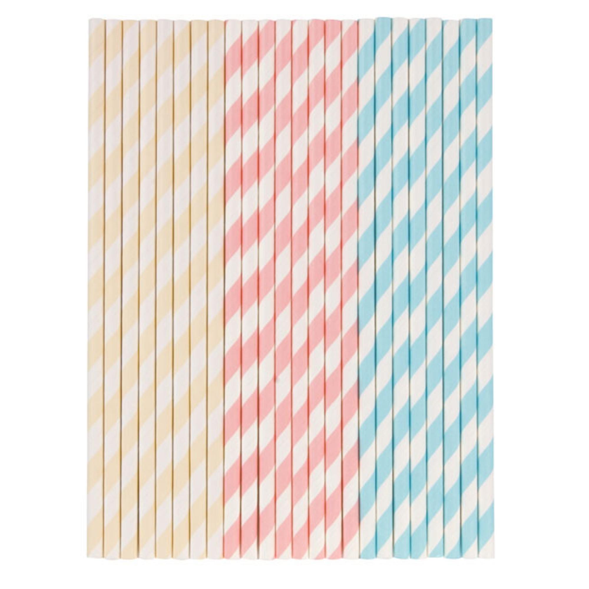 Tala 10A10216 Pastel Paper Straws White Pink Yellow Blue