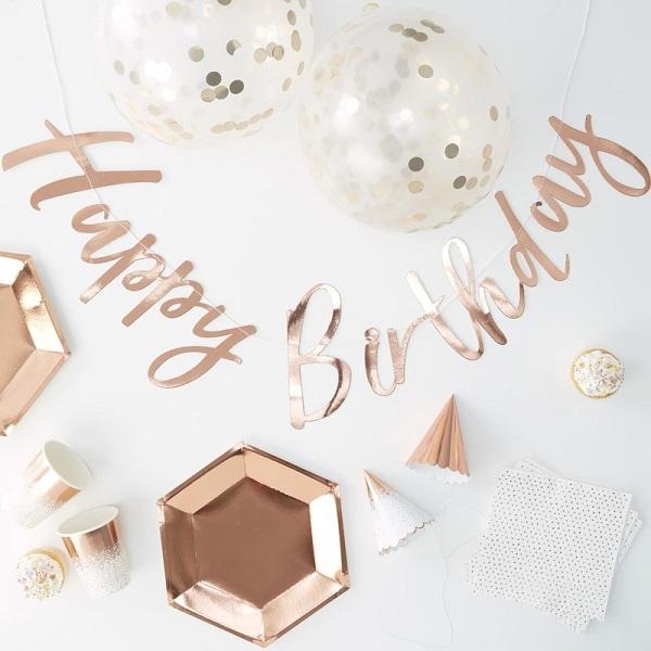 Bakeria Party In A Box Rose Gold Birthday Fur 16 Personen Happy
