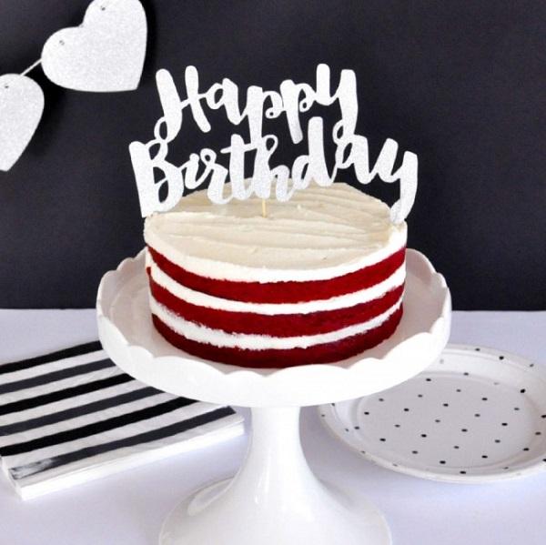 Bakeria Happy Birthday Glitter Silber Torten Topper Silber Glitzer