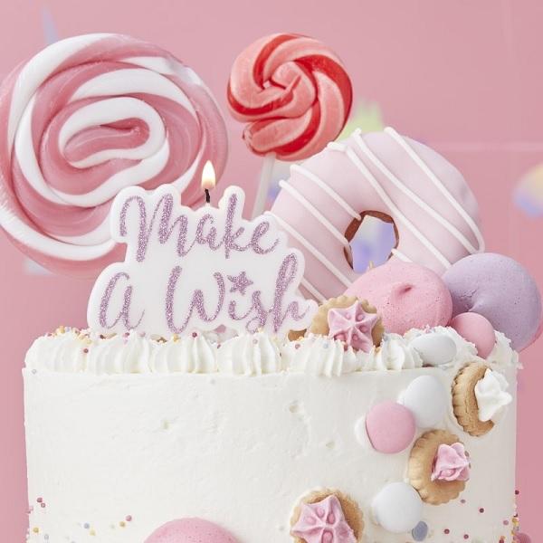 Sparkling Pink Make A Wish Tortenkerze 1